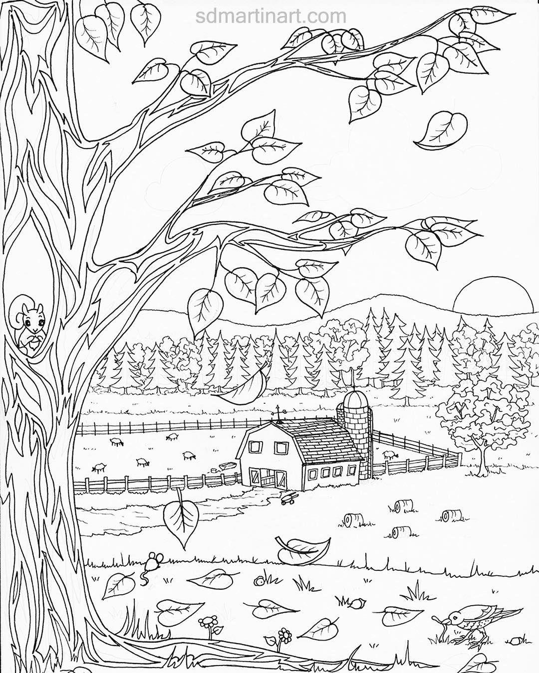 Autumn Farm Coloring Page Farm Coloring Pages Fall Leaves Coloring Pages Free Kids Coloring Pages