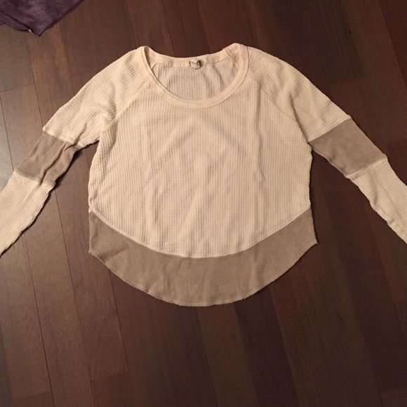 Free people waffle shirt!! Really comfy cream colored waffle shirt with darker accents! Free People Tops