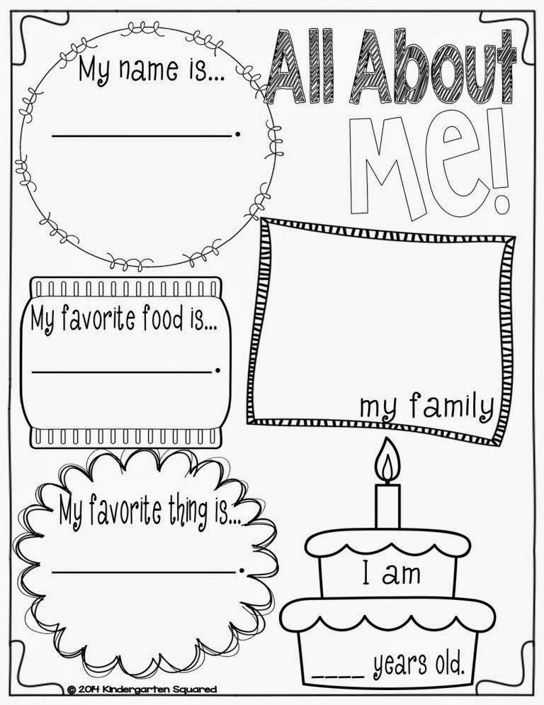 Back To School Galore For Kinders I M In Love All About Me Preschool Kindergarten Squared About Me Preschool All about me kindergarten worksheet