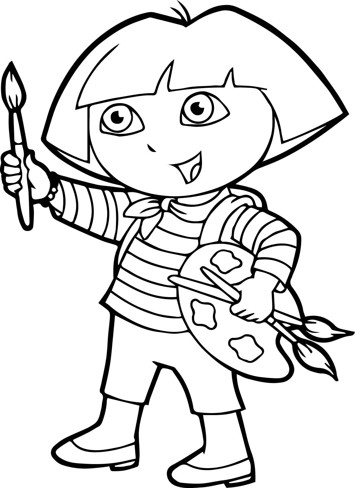 Awesome Dora Painting Coloring Page Pictures To Paint Coloring
