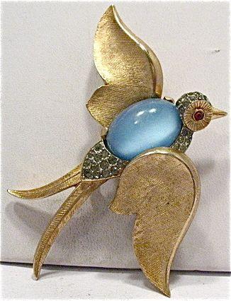 Vintage Trifari Crown Gold Jelly Belly Rhinestone Bird Pin Brooch 55 x 62 Mm   eBay