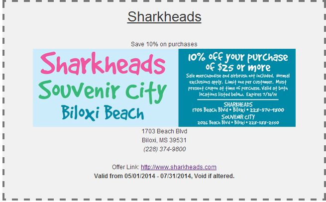Shark Heads Coupon Can T Wait To Go Buy Tacky Shit 2026 Beach