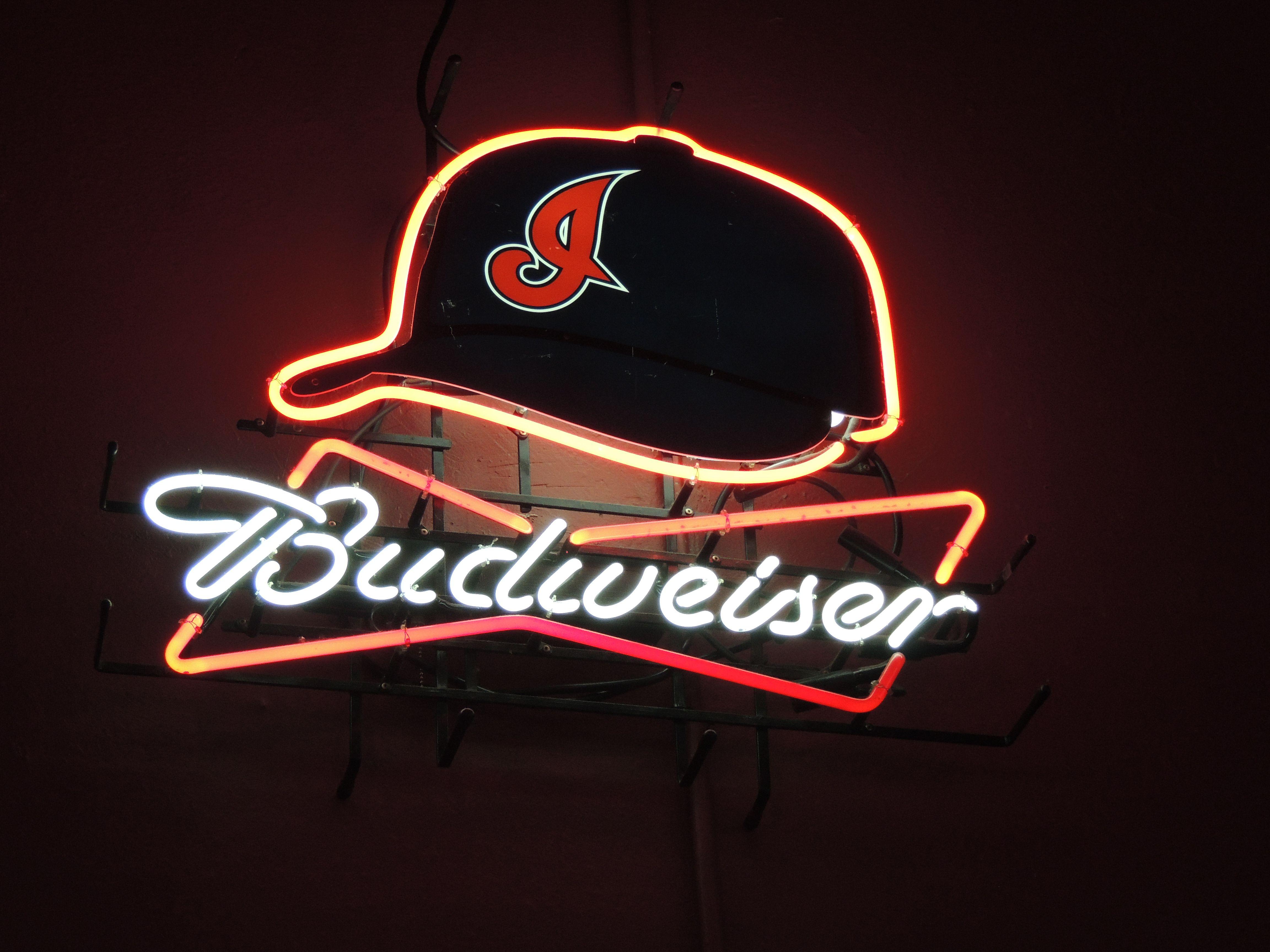 neon beer sign budweiser cleveland indians mlb baseball neon
