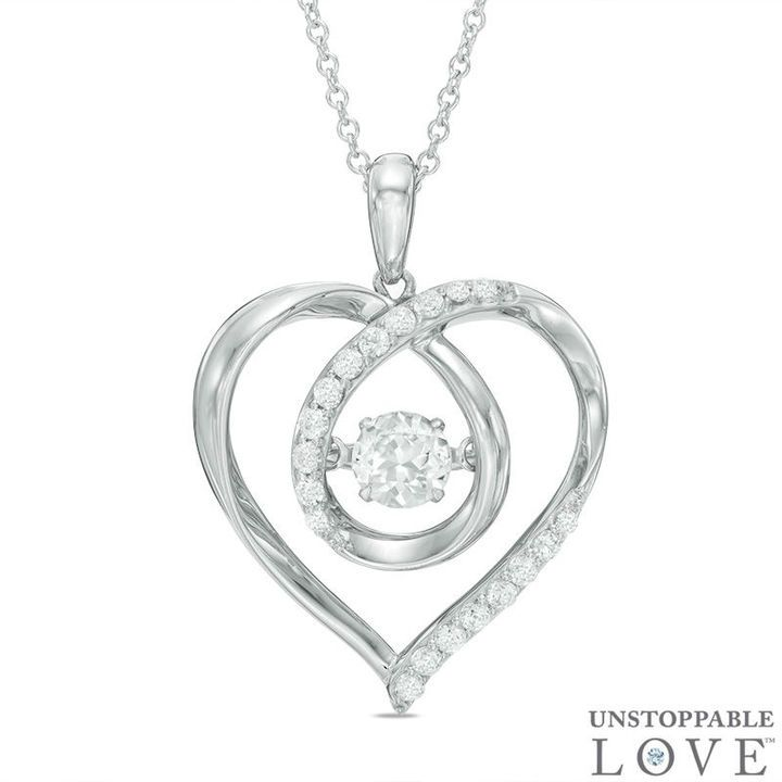 Zales 4.5mm Lab-Created White Sapphire and Diamond Accent Love Heart Pendant in Sterling Silver cwlH9re3