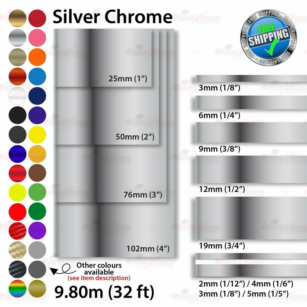 2mm 100mm Pinstriping Pin Stripe Tape Styling Decal Vinyl Stickers Silver Chrome Unbrandedgeneric Vinyl Sticker Pinstriping Vinyl