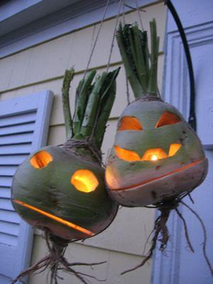Turnip Jack-O-Lanterns. Very clever.