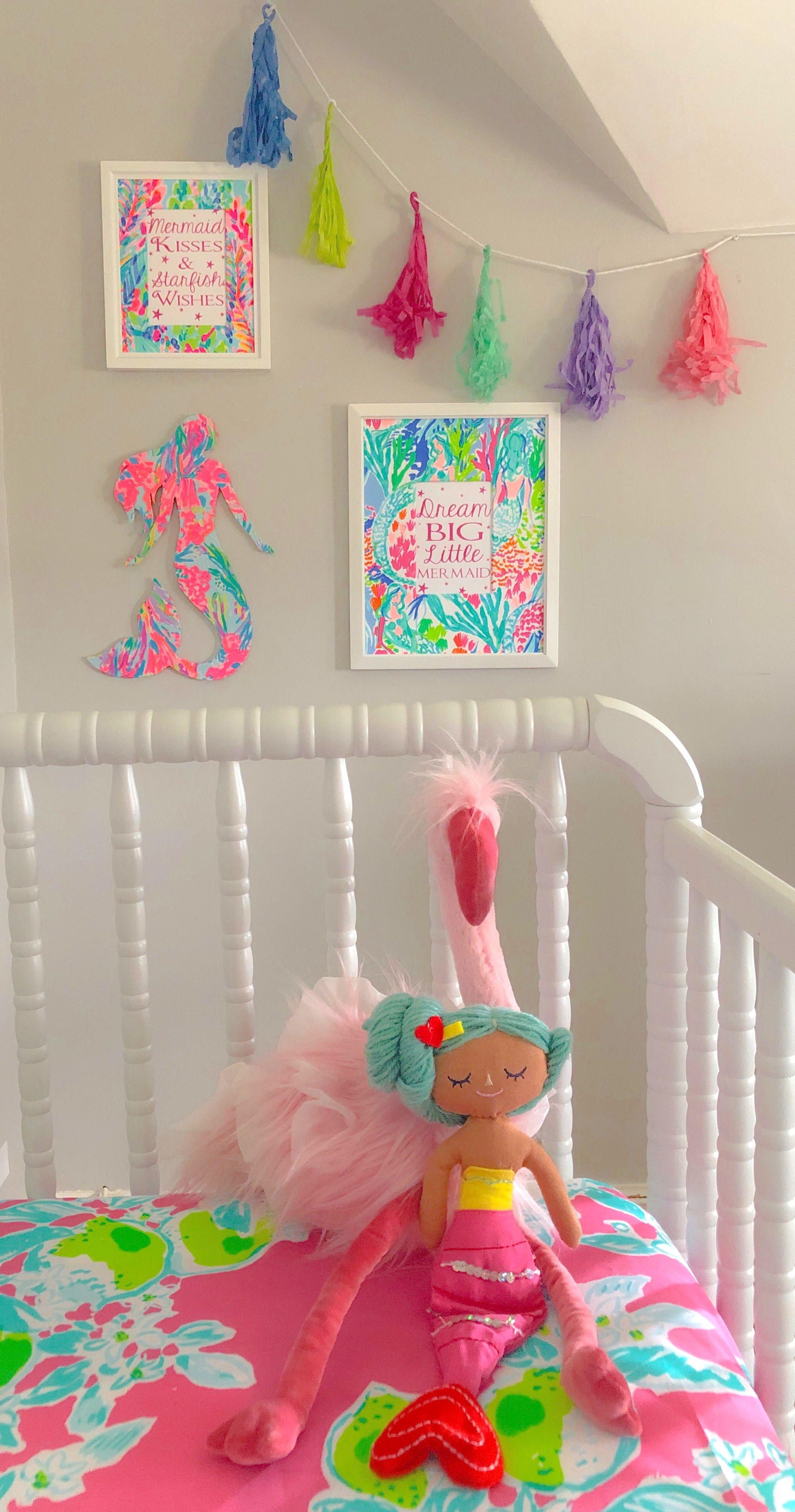 Lilly Pulitzer Mermaid Nursery #mermaidbedroom