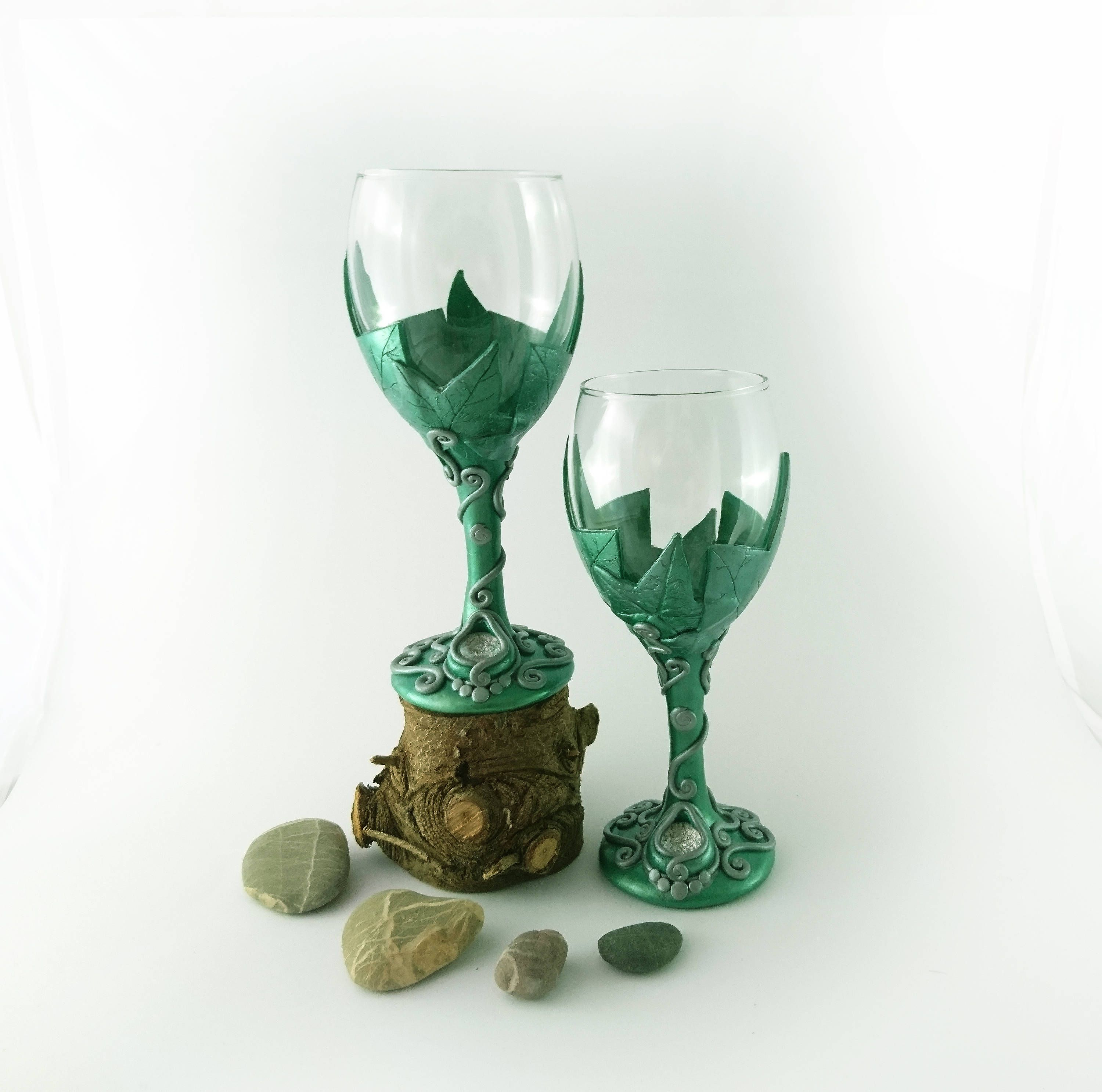 Ivy Leaf Wine Glass, Polymer Clay, Natures Chalice, Wiccan Gift ...