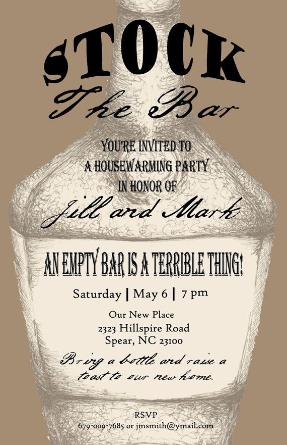 Stock The Bar Housewarming Invite Pen And Ink Print Bottle Brown