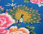 Tissus Chinois Traditionnel Coton Paon Pivoine Bleu 0,5m