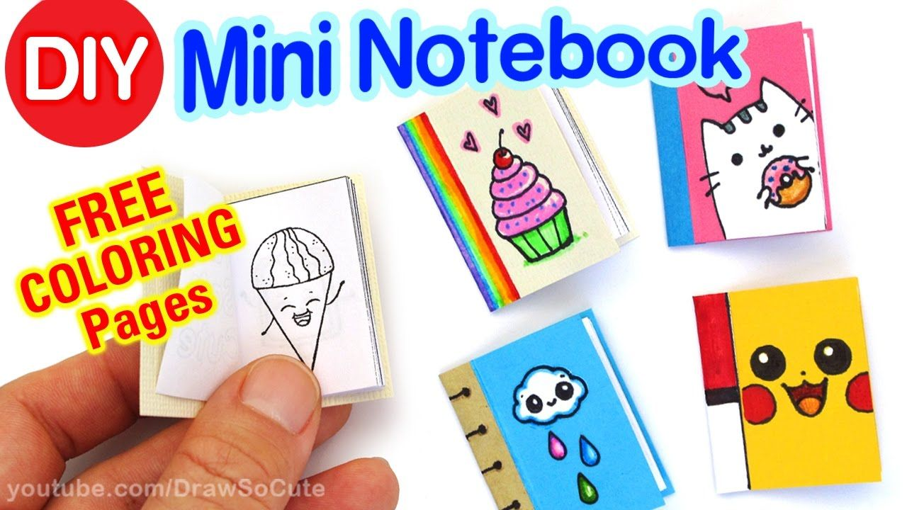 How To Make A Mini Coloring Notebook Step By Step Super Easy Cute Di Mini Notebooks Diy And Crafts Sewing Crafts