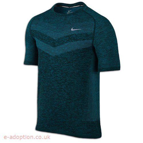Nike Dri Fit Knit Short Sleeve T Shirt Men S Running Clothing Blue Lagoon Black Reflective Silver Men S Knit Nike Men Mens Tshirts
