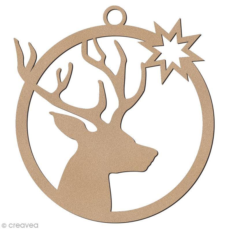 Forma de madera para colgar - Bola de Navidad Cabeza de ciervo - 7 cm #bouledenoel