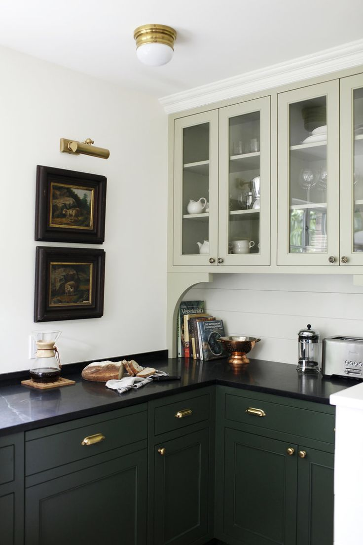 Deep Forest Green Kitchen Cabinetry Paired With A Soft Sea Foam Gl Cabinet Katie Hackworth