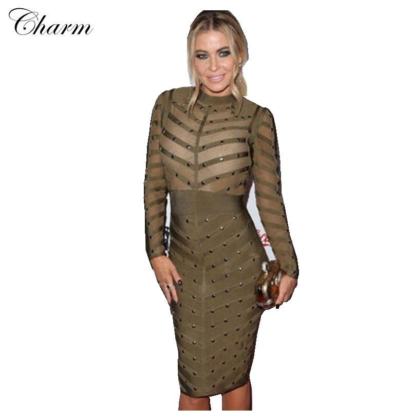 776cd5dbfd12 new summer 2016 women dress high neck mesh beaded bodycon party dress black  grey pink red olive long sleeve bandage dress >>> Details can be found by  ...