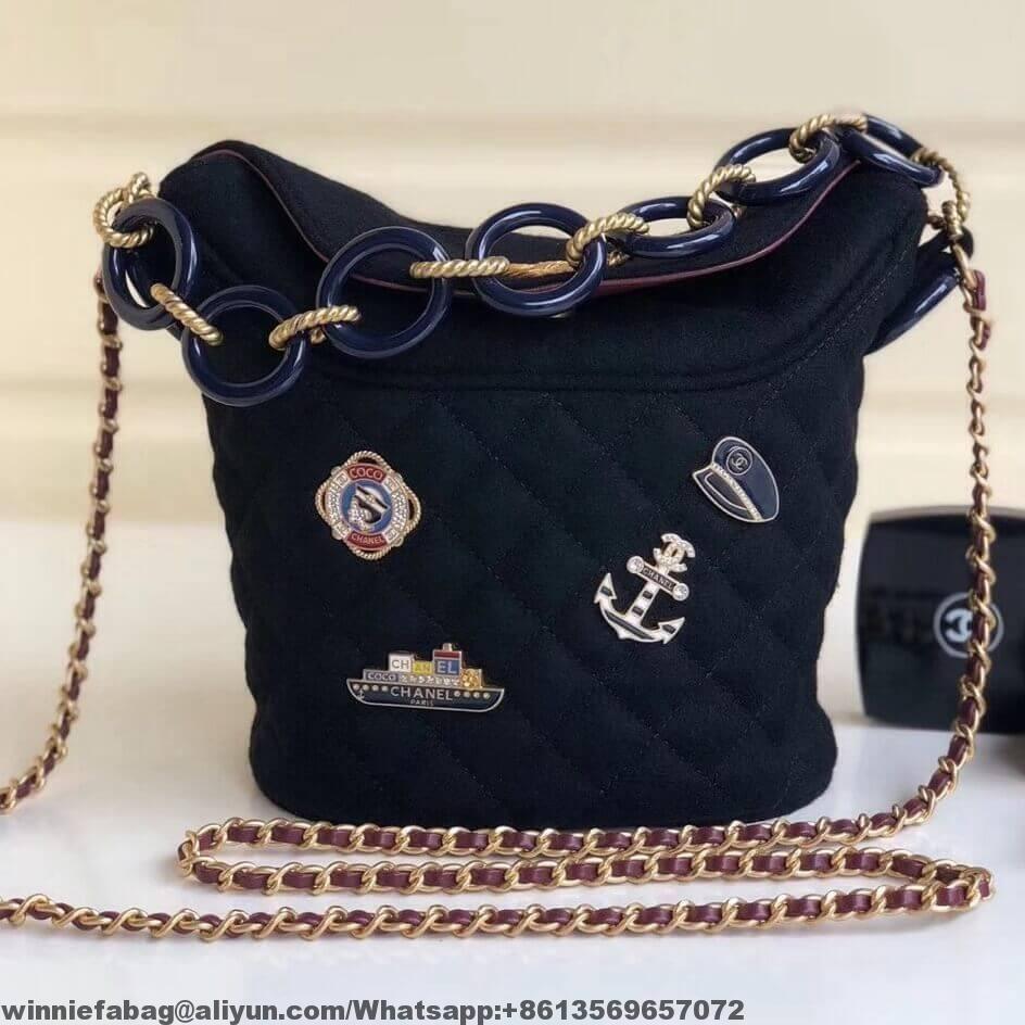 Chanel Wool Charms Bucket Bag Replica Handbags Review