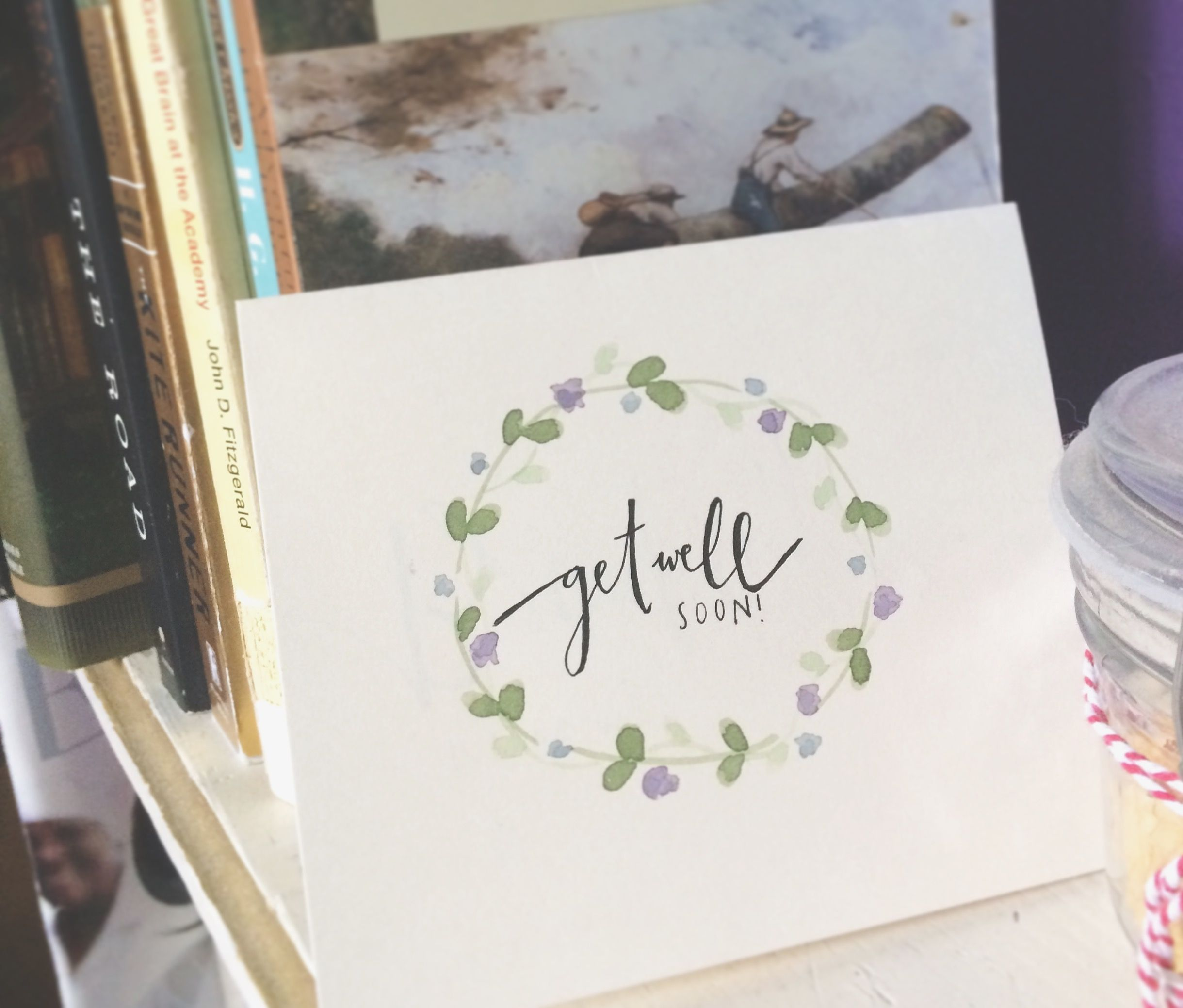 Handmade Watercolor Floral Get Well Soon Card Custom