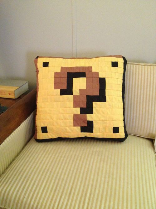 Quilted Super Mario Item Block Pillow by BritRo.deviantart.com