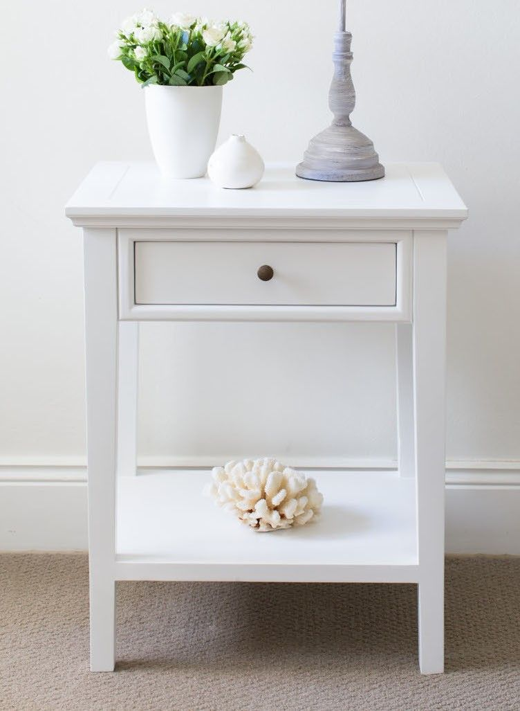 White Side Tables white bedside table - 1 drawer | drawers, shelves and wall mount