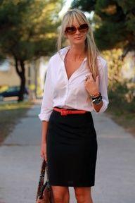 black pencil skirt, white top, colorful belt.
