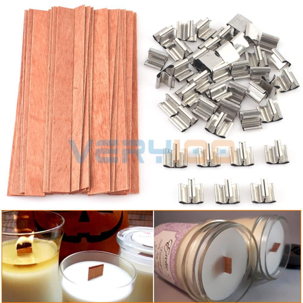 NEW 40 Pcs Wooden Wick Candle Core Sustainers Tab DIY