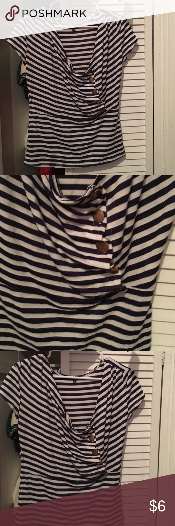 Cute stripe shirt Cute Nautical inspired top. Used. Few lint spots can easily be brushed off. Free with any purchase $25 and up. Large but can also fit an XL nicely. Tops