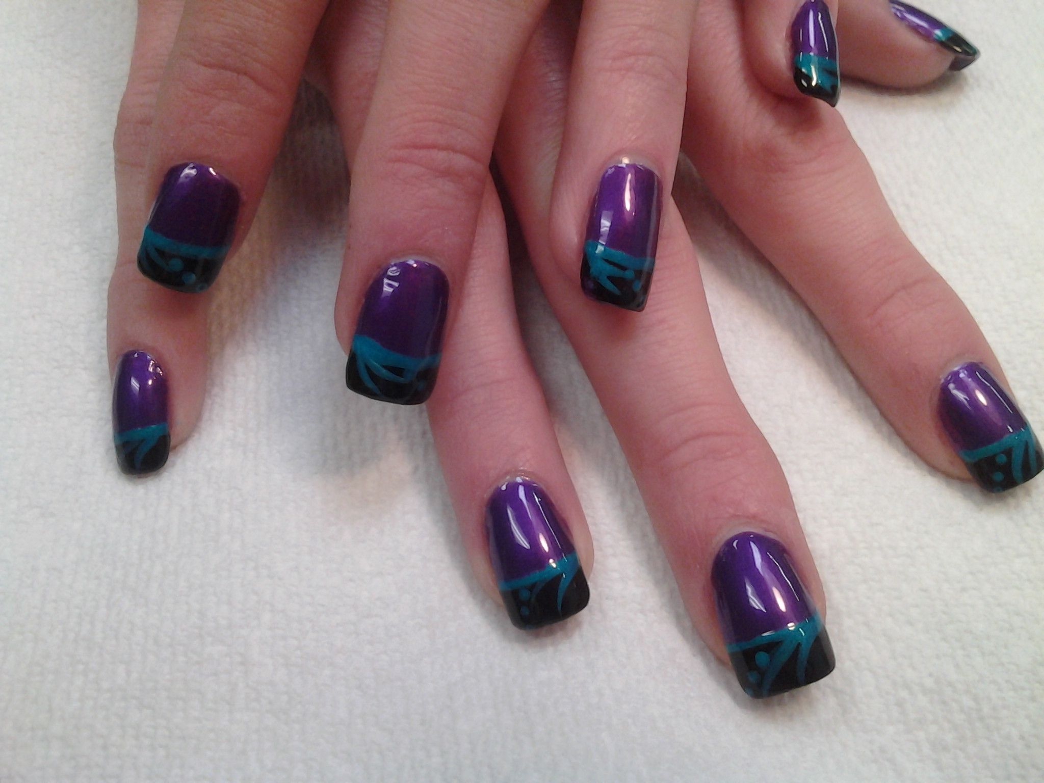 Acrylics with China glaze purple, black French tips & turned up ...