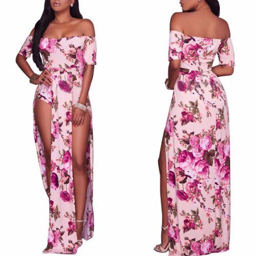 f73169bb6275 Vestido Longo Ombro A Ombro Floral Com Fenda E Short por apenas R$ 95,90  com frete gratis   UFashionShop