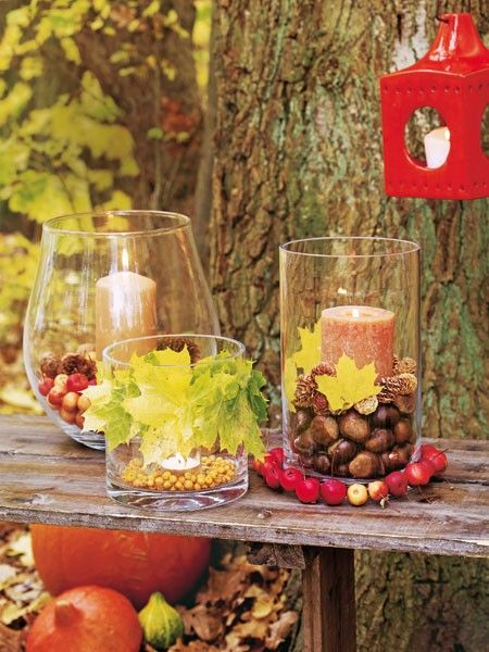 Selbstgemachte Tischdeko für ein Picknick im goldenen Herbst #thanksgivingdecorations
