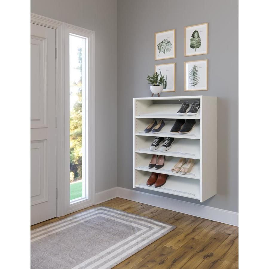 Easy Track 14 Pair White Composite Shoe Rack Lowes Com In 2020