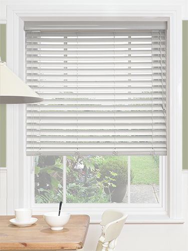 High Gloss Pure White Faux Wood Blind 50mm Slat Ideas For The