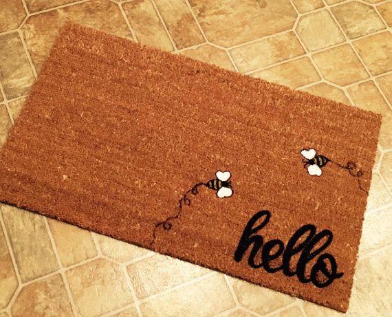 Hello Door Mat With Bumble Bees Custom Doormat Welcome Mat