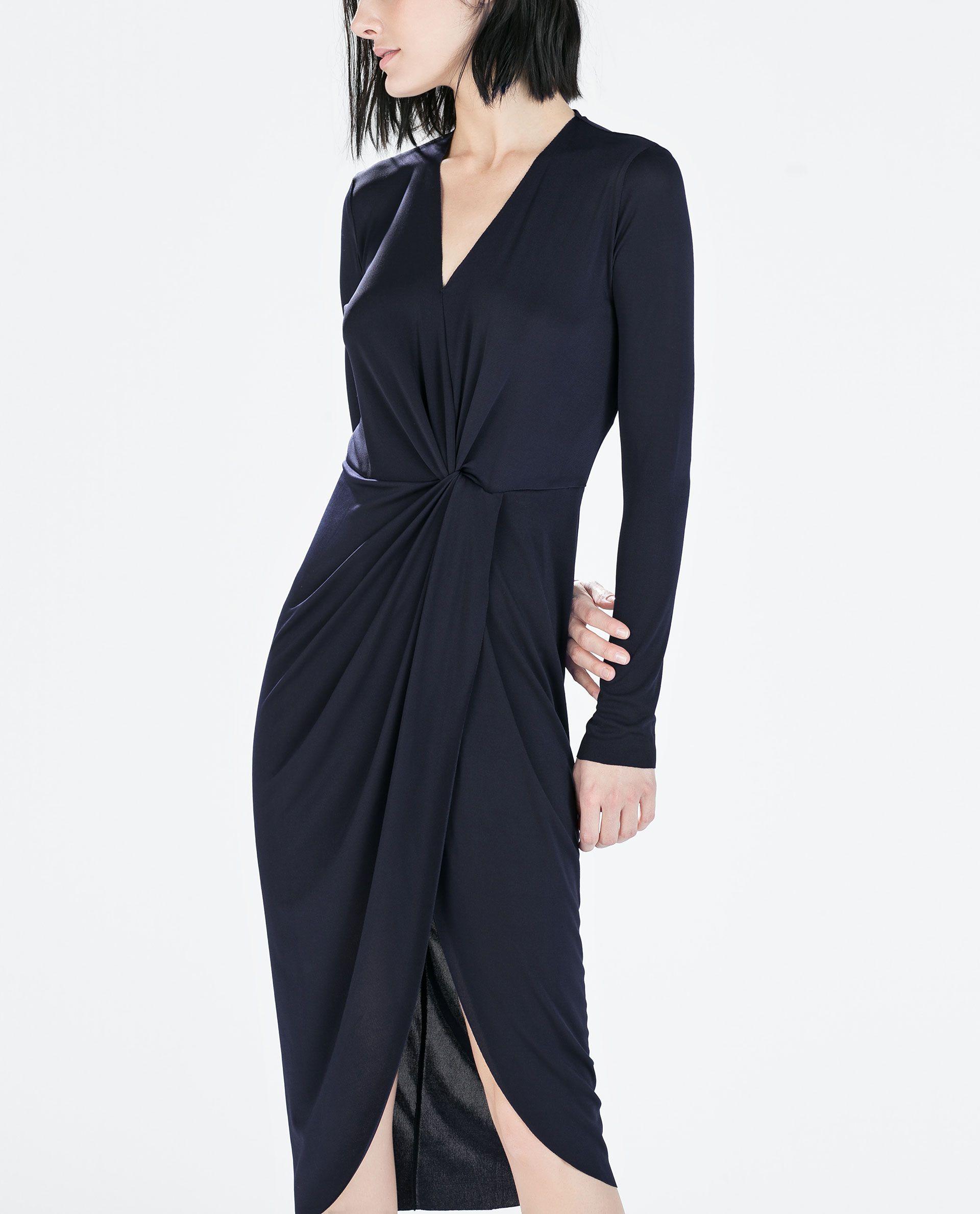 Knotted long dress from zara wish list pinterest wardrobes