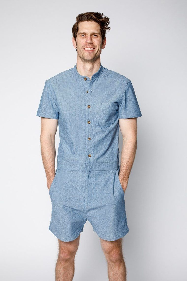 3c4f9dcbc5c Product shot of model wearing Dark blue chambray male romper by RompHim  (front view)