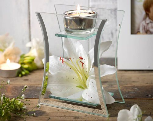 artificial lily glass decorative tea light holder candle table centre home decor