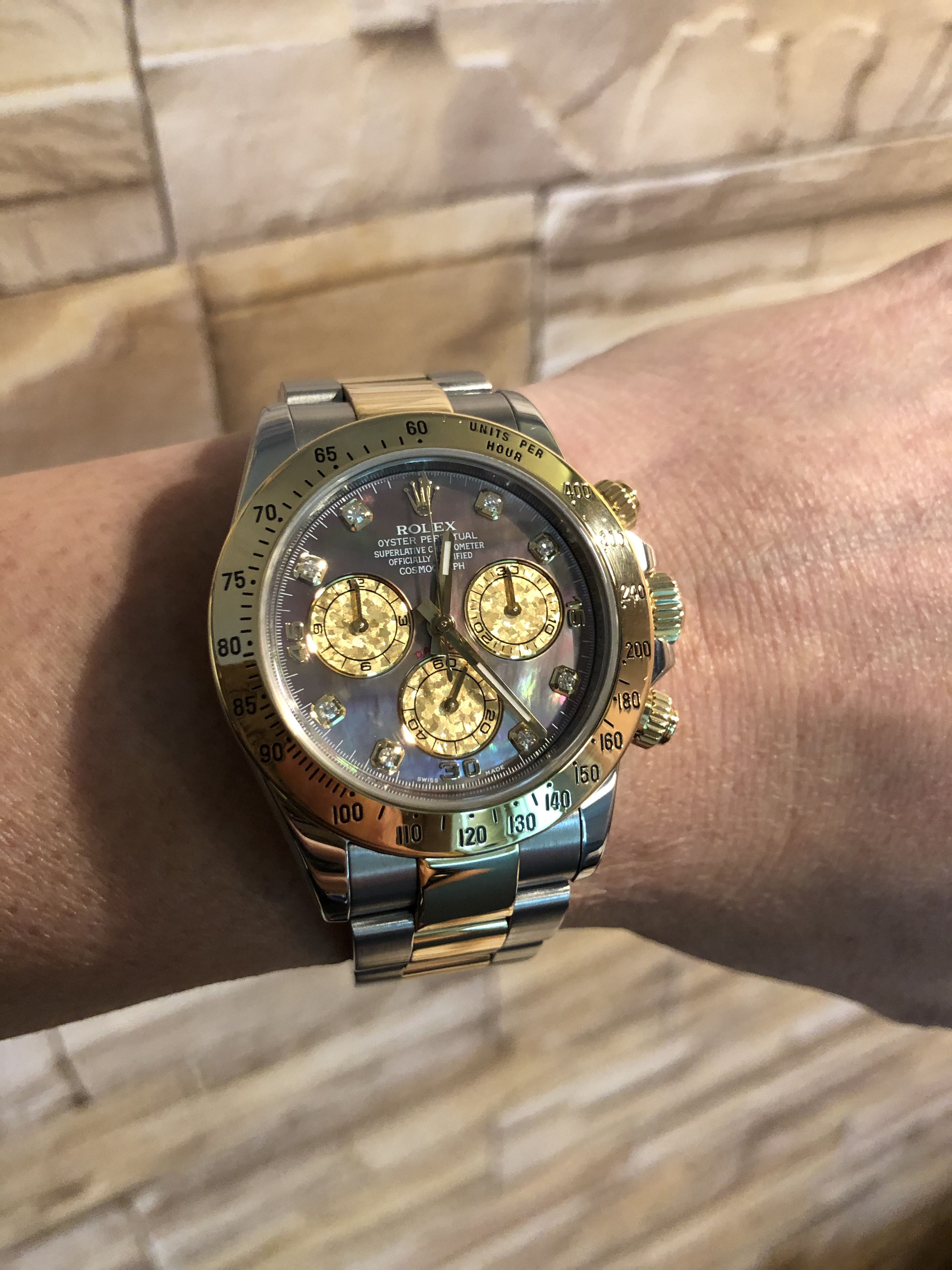 Rolex DAYTONA 116523 Mother of Pearl Black Dial Set with