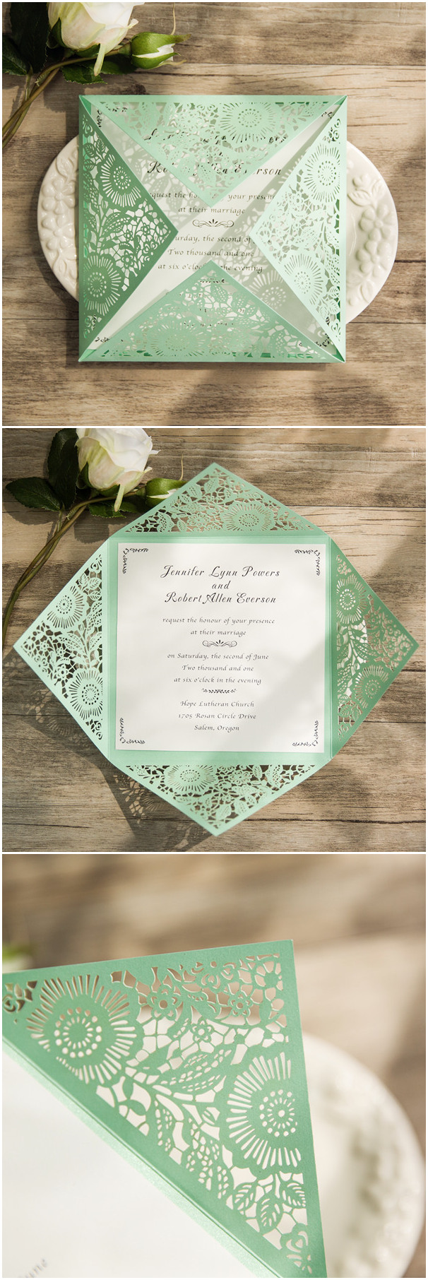 cheap simple classic mint green laser cut invitations EWWS106 ...