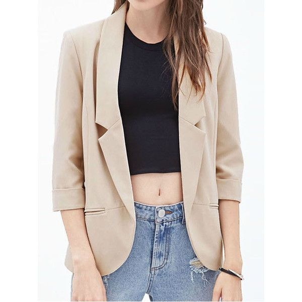 Beige Lapel 3/4 Sleeve Open Front Blazer ($59) ❤ liked on Polyvore featuring outerwear, jackets, blazers, beige jacket, collar jacket, pink blazer, blazer jacket and lapel jacket