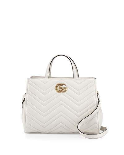 08753511834a GUCCI GG MARMONT SMALL MATELASSÉ TOP-HANDLE BAG, WHITE. #gucci #bags  #shoulder bags #hand bags #leather #lining #