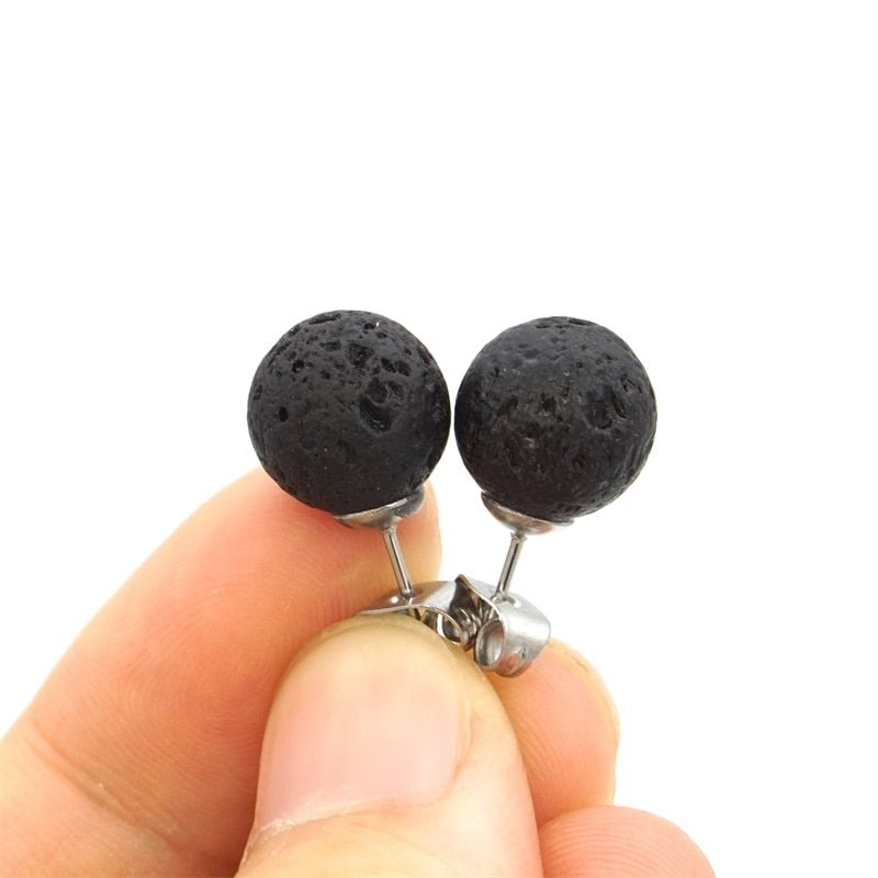 Photo of Stainless Steel Stud 8mm 10mm Black Lava Rock Stone Bead Earrings DIY Aromatherapy Essential Oil Diffuser Earrings Jewelry Metal Color 8mm beads stud