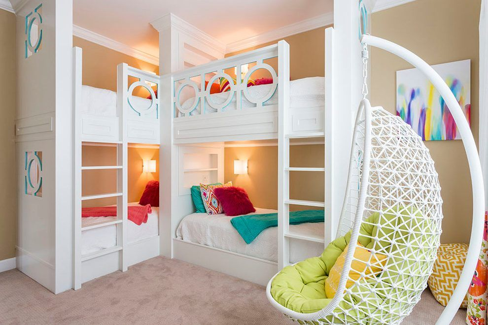 Corner Bunk Beds Kids Transitional With White Molding Double Bunk