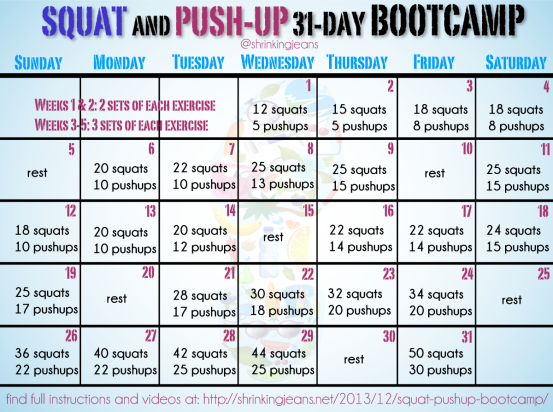 Squat Push Up Bootcamp Monthly Workout Calendar Month Workout Workout Calendar Workout Challenge