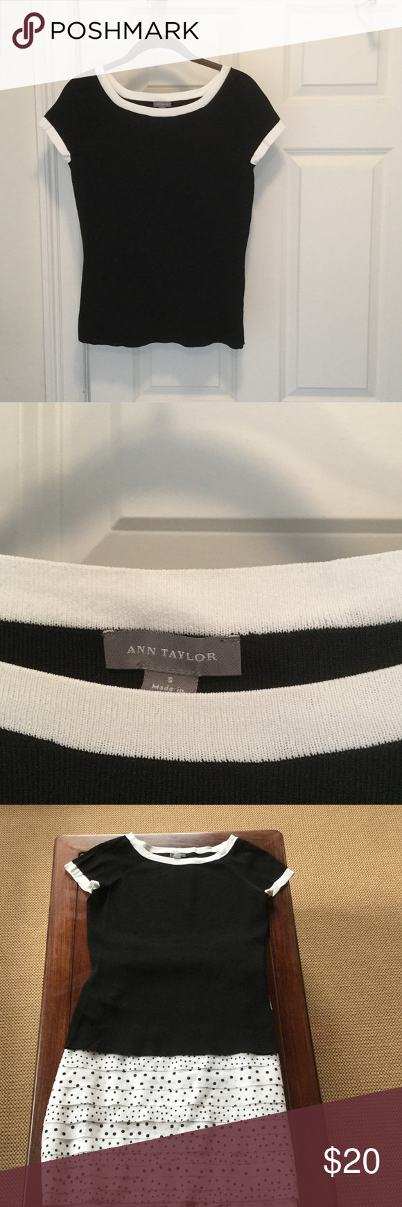 Ann Taylor top Simple, classic black and white top.  Looks great with a white skirt or pants.  Worn just once.  Skirt shown in photo is sold separately in my closet. Ann Taylor Tops