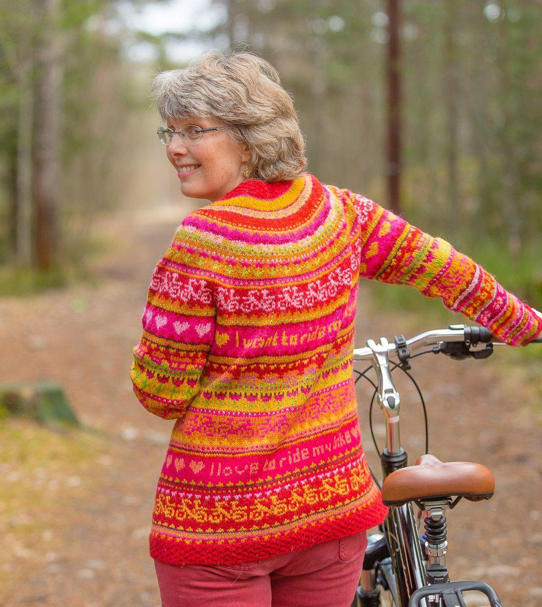 Hønsestrikk - chickenknitting: Glad jakke for fine sykkelturer