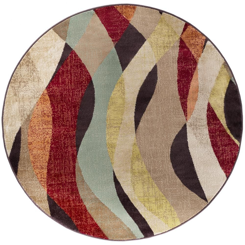 Tayse Rugs Deco Brown 8 Ft Transitional Round Area Rug Dco1013