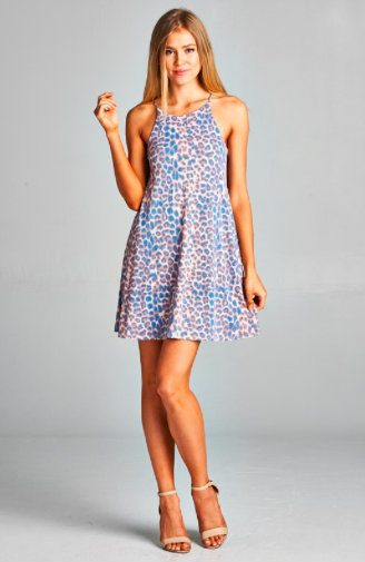 {The Mindy} Leopard Dress in Pink - Dusty Diamonds Boutique