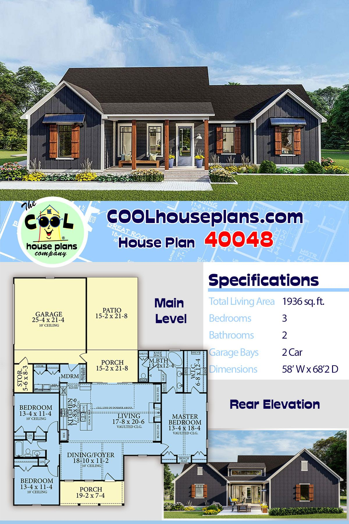 Traditional Style House Plan 40048 With 3 Bed 2 Bath 2 Car Garage House Plans Ranch House Plans New House Plans