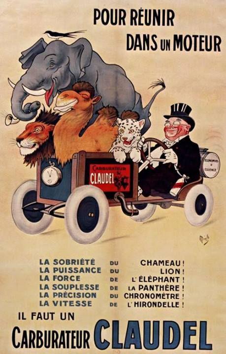 ¤ Mich (1881-1923). Illustrateur. Pour réunir dans un moteur.. il faut un carburateur CLAUDEL. (1925)