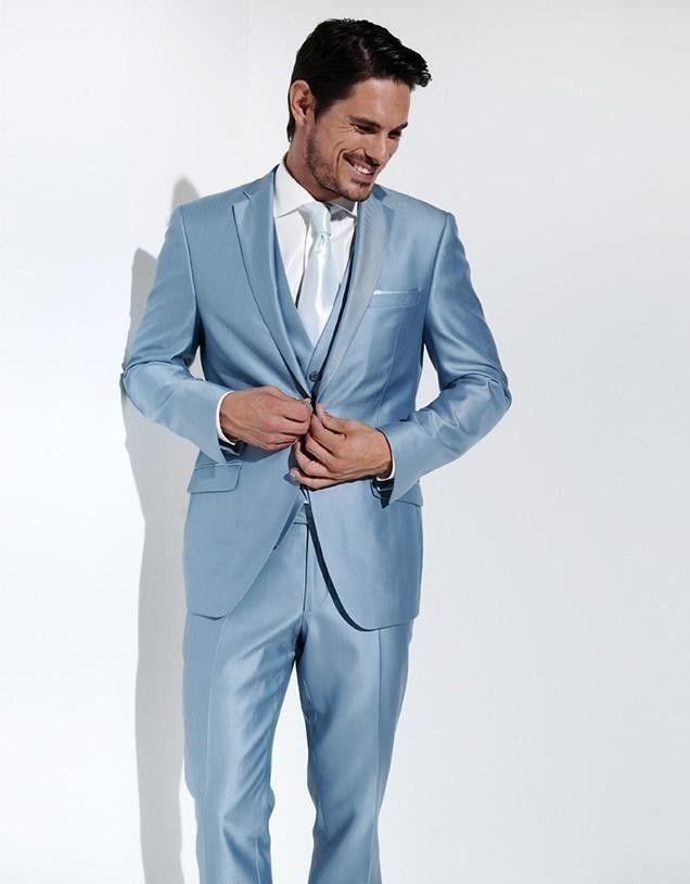 Latest Coat Pant Designs Light Blue Satin Men Suit Slim Fit 3 Piece ...
