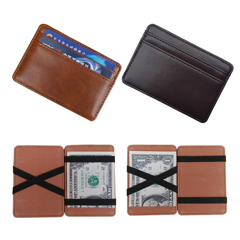 MENS STUNNING FAUX LEATHER MAGIC CREDIT CARD ID MONEY CLIP SLIM WALLET HOLDER